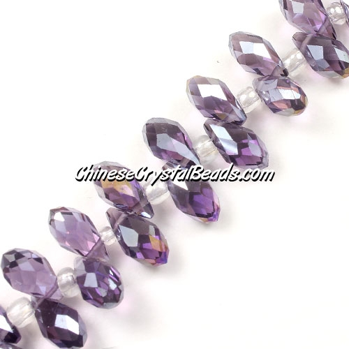 Chinese Crystal Briolette Bead Strand, violet AB, 6x12mm, 20 beads