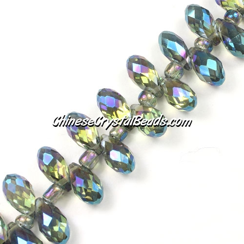 Chinese Crystal Briolette Bead Strand, blue light reflective green light, 6x12mm, 20 beads