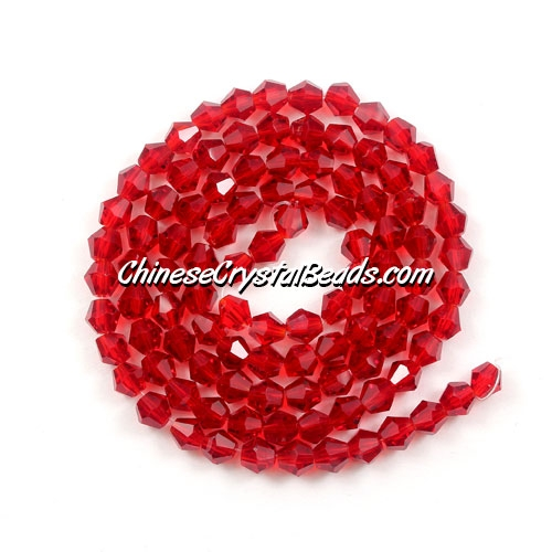 Chinese Crystal 4mm Bicone Bead Strand, Siam, about 120 beads