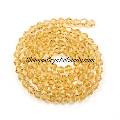 Chinese Crystal 4mm Bicone Bead Strand, G. Champagne ,about 120 beads