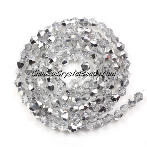 Chinese Crystal 4mm Bicone Bead Strand, half silver, about 120 beads