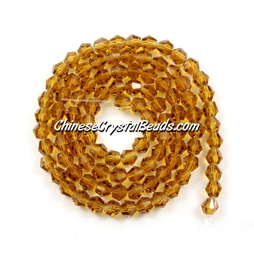Chinese Crystal 4mm Bicone Bead Strand, Amber, about 120 beads