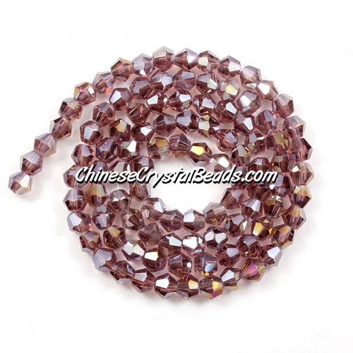 Chinese Crystal 4mm Bicone Bead Strand, Amethyst AB, about 120 beads