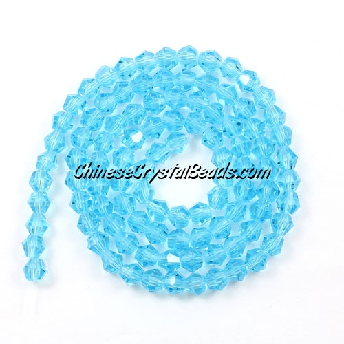 Chinese Crystal 4mm Bicone Bead Strand, Aqua, about 120 beads