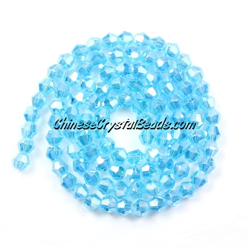 Chinese Crystal 4mm Bicone Bead Strand, aqua AB, about 120 beads
