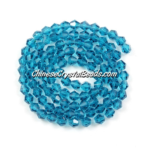 Chinese Crystal 4mm Bicone Bead Strand, Blue Zircon, about 120 beads