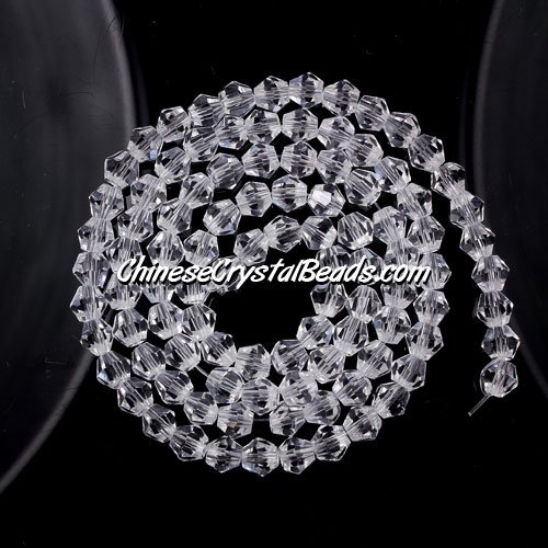 Chinese Crystal 4mm Bicone Bead Strand, Clear, about 120 beads