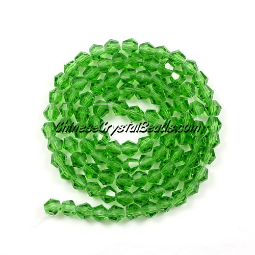 Chinese Crystal 4mm Bicone Bead Strand, fern green, about 120 beads