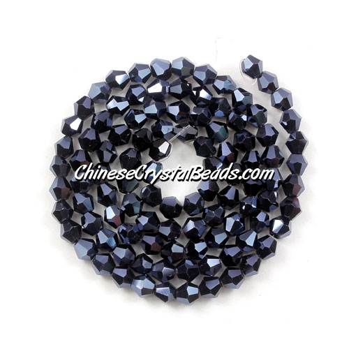 Chinese Crystal 4mm Bicone Bead Strand, gun metal, about 120 beads