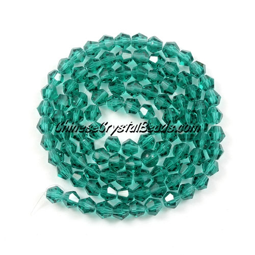 Chinese Crystal 4mm Bicone Bead Strand, Emerald, about 120 beads