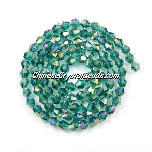 Chinese Crystal 4mm Bicone Bead Strand, Emerald AB, about 120 beads