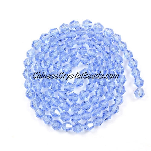 Chinese Crystal 4mm Bicone Bead Strand, light sapphire, about 120 beads