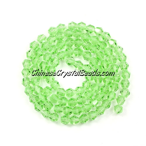 Chinese Crystal 4mm Bicone Bead Strand, Lime Green, about 120 beads