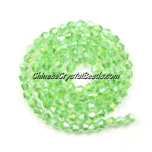 Chinese Crystal 4mm Bicone Bead Strand, lime green AB, about 120 beads