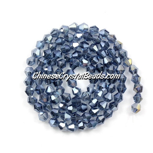 Chinese Crystal 4mm Bicone Bead Strand, Mexican Blue AB, about 120 beads
