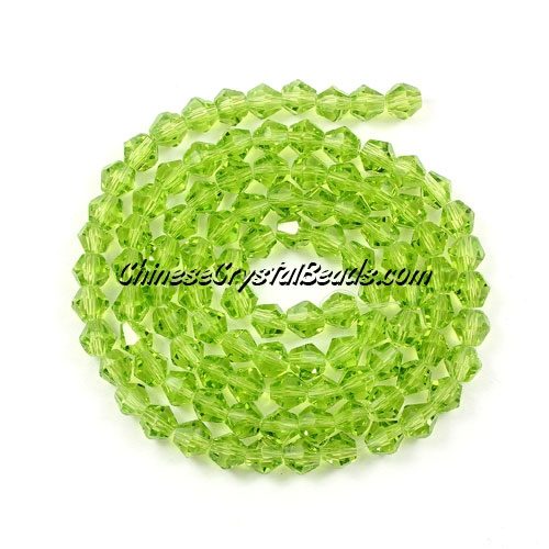 Chinese Crystal 4mm Bicone Bead Strand, olivine, about 120 beads