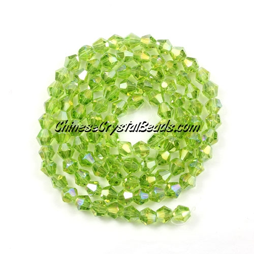 Chinese Crystal 4mm Bicone Bead Strand, olivine AB, about 120 beads