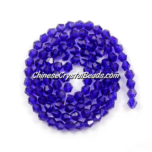 Chinese Crystal 4mm Bicone Bead Strand, sapphire, about 120 beads