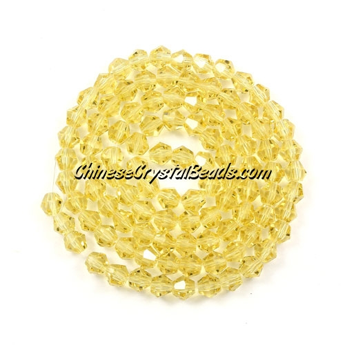 Chinese Crystal 4mm Bicone Bead Strand, citrine, about 120 beads