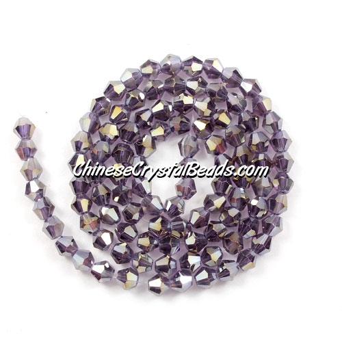 Chinese Crystal 4mm Bicone Bead Strand, Violet AB, about 120 beads