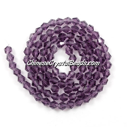 Chinese Crystal 4mm Bicone Bead Strand, violet, about 120 beads