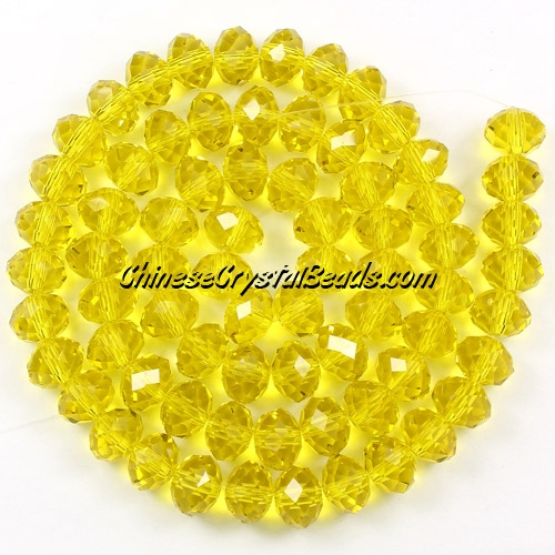Chinese Crystal Rondelle Beads Strand, lime, 6x8mm , about 72 beads
