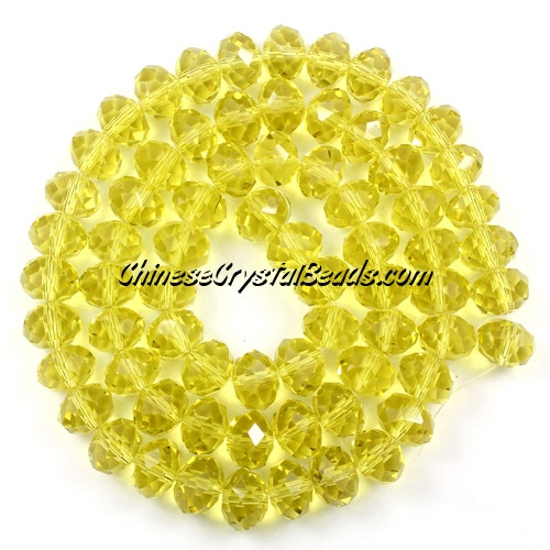 70Pcs 8x10mm crystal rondelle beads strand, Lemon