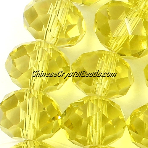 crystal rondelle beads strand, Lemon, 8x10mm, 25 beads