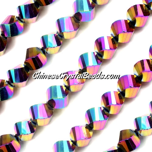 Chinese Crystal 10mm Helix Long Bead Strand, Rainbow , 20 beads