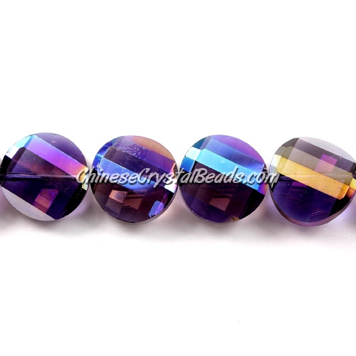 Chinese Crystal Twist Bead, 18mm, Violet AB, 10 beads