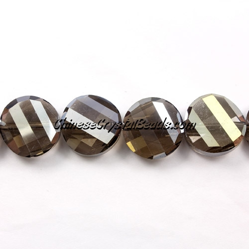 Chinese Crystal Twist Bead, 18mm, Smoke AB, 10 beads