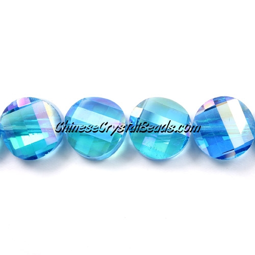Chinese Crystal Twist Bead, 18mm, Aqua AB, 10 beads