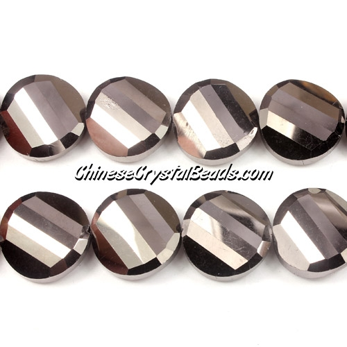 Chinese Crystal Twist Bead, 18mm, Hematite, 10 beads