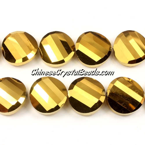 Chinese Crystal Twist Bead, 18mm, Gold, 10 beads