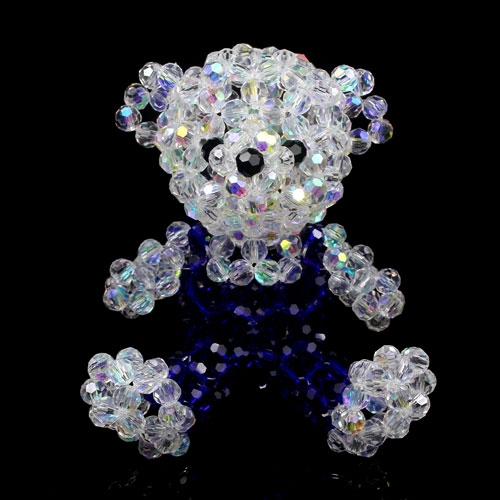 3D beading Beaded Teddy blue Suspenders Bear 60mm(high)