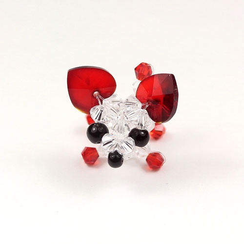 Crystal 3D Beading crystal animals Dog , Red Chihuahua, 27x27x24mm