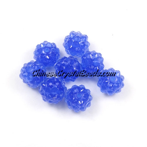Chinese Crystal Disco Bead Acrylic Blue 10mm(inside), 25 beads