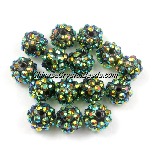 Chinese Crystal Disco Bead Acrylic green AB 10mm(inside), 25 beads