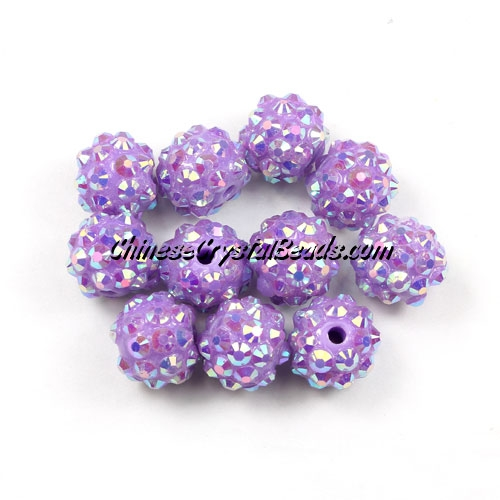 Chinese Crystal Disco Bead Acrylic purple AB 10mm(inside), 25 beads