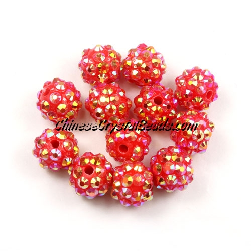 Chinese Crystal Disco Bead Acrylic red AB 10mm(inside), 25 beads