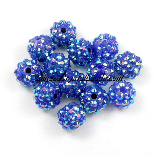 Chinese Crystal Disco Bead Acrylic sapphire AB 10mm(inside), 25 beads