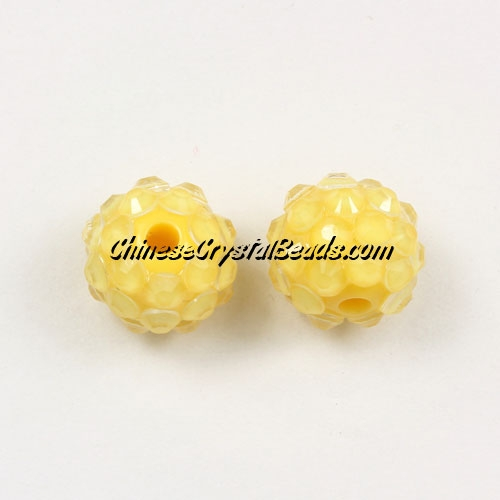 Chinese Crystal Disco Bead Acrylic yellow 10mm(inside), 25 beads