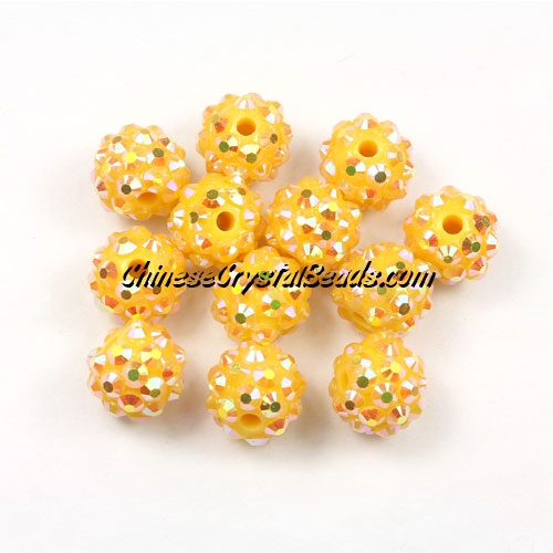 Chinese Crystal Disco Bead Acrylic yellow AB 10mm(inside), 25 beads