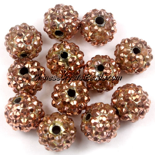 Crystal Disco Ball Acrylic Rhinestone copper 12x14mm, 20 beads