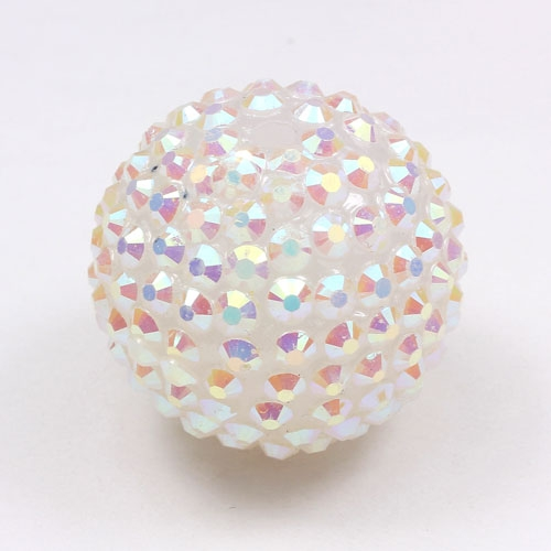 Acrylic Disco Bead White AB 26mm