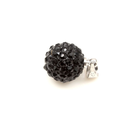 Crystal Disco beads charms black 10mm, 1pcs