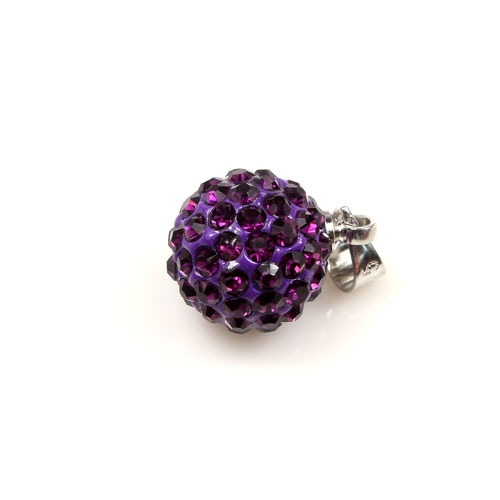 Crystal Disco beads charms , violet, 10mm, 1pcs
