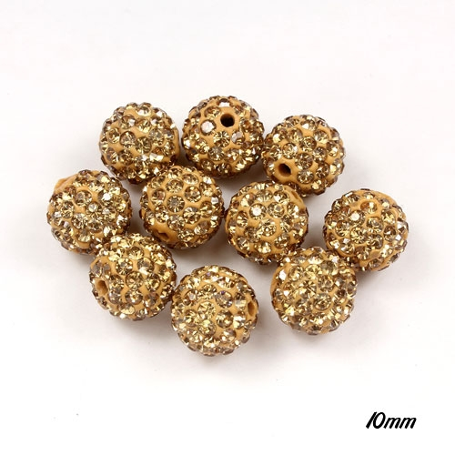 50pcs, 10mm Pave clay disco beads, hip hop disco ball, Champagne, hole: 1.5mm