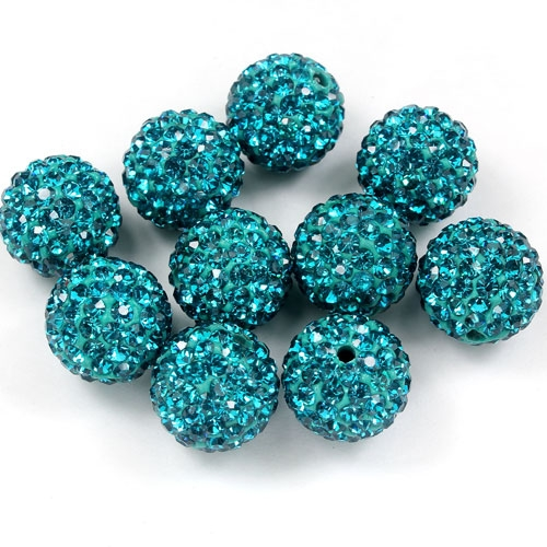 50pcs, 12mm Pave beads, hole: 1.5mm, clay disco beads, indicolite