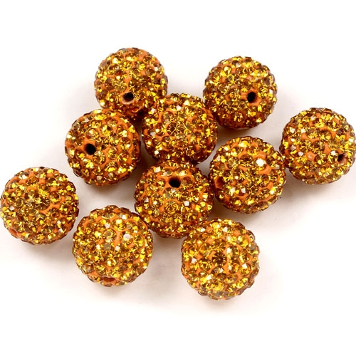 50pcs, 12mm Pave beads, hole: 1.5mm, clay disco beads, Amber